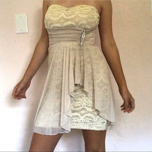 cream white lace short strapless dress teeze me